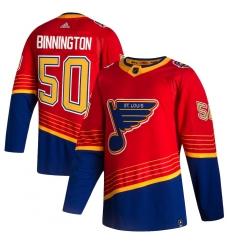 Men's St. Louis Blues #50 Jordan Binnington adidas Red 2020-21 Reverse Retro Authentic Player Jersey