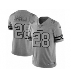 Men's Oakland Raiders #28 Josh Jacobs Gray Team Logo Gridiron Limited Football Jersey