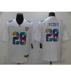 Men's Oakland Raiders #28 Josh Jacobs White Rainbow Version Nike Leopard Jersey