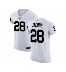 Men's Oakland Raiders #28 Josh Jacobs White Vapor Untouchable Elite Player Football Jersey