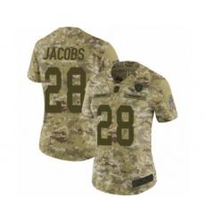 Women's Oakland Raiders #28 Josh Jacobs Limited Camo 2018 Salute to Service Football Jersey