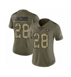 Women's Oakland Raiders #28 Josh Jacobs Limited Olive Camo 2017 Salute to Service Football Jersey