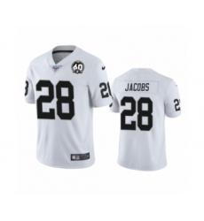 Women's Oakland Raiders #28 Josh Jacobs White 60th Anniversary Vapor Untouchable Limited Player 100th Season Football Jersey