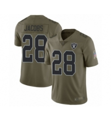 Youth Oakland Raiders #28 Josh Jacobs Limited Olive 2017 Salute to Service Football Jersey