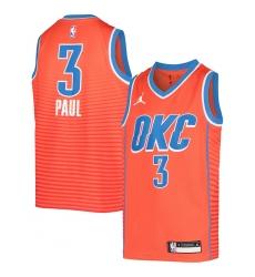 Youth Oklahoma City Thunder #3 Chris Paul Jordan Brand Orange 2020-21 Swingman Jersey