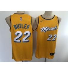 Men's Nike Miami Heat #22 Jimmy Butler Yellow City Swingman Basketball Jersey