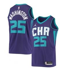 Men's Charlotte Hornets #25 PJ Washington Jr. Jordan Brand Purple 2020-21 Swingman Jersey