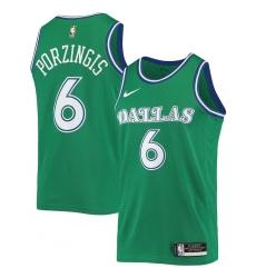 Men's Dallas Mavericks #6 Kristaps Porzingis Nike Green Hardwood Classics 2020-21 Swingman Jersey