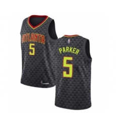 Men's Atlanta Hawks #5 Jabari Parker Authentic Black Basketball Jersey - Icon Edition