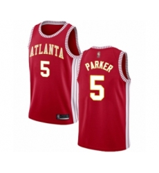 Men's Atlanta Hawks #5 Jabari Parker Authentic Red Basketball Jersey Statement Edition
