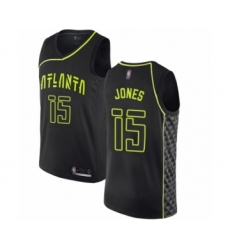 Men's Atlanta Hawks #15 Damian Jones Authentic Black Basketball Jersey - City Edition