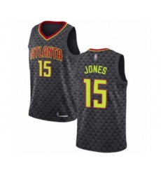 Men's Atlanta Hawks #15 Damian Jones Authentic Black Basketball Jersey - Icon Edition