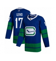 Men's Vancouver Canucks #17 Josh Leivo Authentic Royal Blue Alternate Hockey Jersey