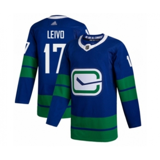 Men's Vancouver Canucks #17 Josh Leivo Authentic Royal Blue Alternate Hockey Jersey