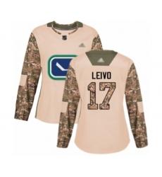 Women's Vancouver Canucks #17 Josh Leivo Authentic Camo Veterans Day Practice Hockey Jersey