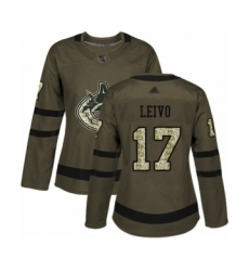 Women's Vancouver Canucks #17 Josh Leivo Authentic Green Salute to Service Hockey Jersey