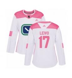 Women's Vancouver Canucks #17 Josh Leivo Authentic White Pink Fashion Hockey Jersey
