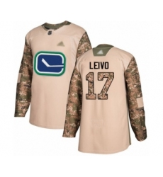 Youth Vancouver Canucks #17 Josh Leivo Authentic Camo Veterans Day Practice Hockey Jersey