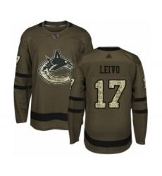 Youth Vancouver Canucks #17 Josh Leivo Authentic Green Salute to Service Hockey Jersey