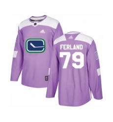 Men's Vancouver Canucks #79 Michael Ferland Authentic Purple Fights Cancer Practice Hockey Jersey