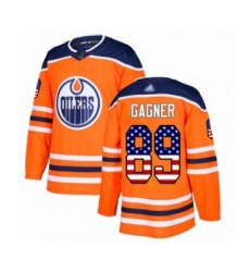 Men's Edmonton Oilers #89 Sam Gagner Authentic Orange USA Flag Fashion Hockey Jersey