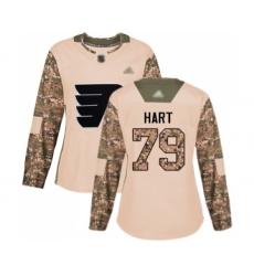 Women's Philadelphia Flyers #79 Carter Hart Authentic Camo Veterans Day Practice Hockey Jersey