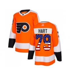 Youth Philadelphia Flyers #79 Carter Hart Authentic Orange USA Flag Fashion Hockey Jersey