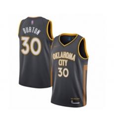 Men's Oklahoma City Thunder #30 Deonte Burton Swingman Charcoal Basketball Jersey - 2019 20 City Edition