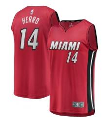 Men's Miami Heat #14 Tyler Herro Fanatics Branded Red 2020-21 Fast Break Replica Jersey