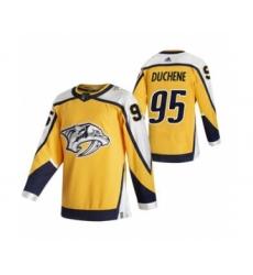 Men's Nashville Predators #95 Matt Duchene Yellow 2020-21 Reverse Retro Alternate Hockey Jersey