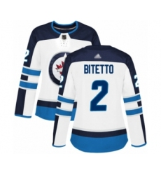 Women's Winnipeg Jets #2 Anthony Bitetto Authentic White Away Hockey Jersey