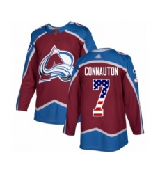 Men's Colorado Avalanche #7 Kevin Connauton Authentic Burgundy Red USA Flag Fashion Hockey Jersey