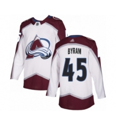 Men's Colorado Avalanche #45 Bowen Byram Authentic White Away Hockey Jersey
