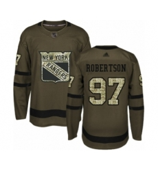 Men's New York Rangers #97 Matthew Robertson Authentic Green Salute to Service Hockey Jersey
