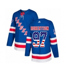 Men's New York Rangers #97 Matthew Robertson Authentic Royal Blue USA Flag Fashion Hockey Jersey