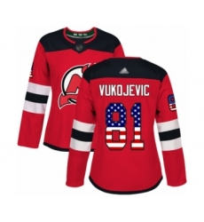 Women's New Jersey Devils #81 Michael Vukojevic Authentic Red USA Flag Fashion Hockey Jersey