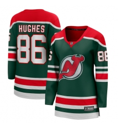 Women's New Jersey Devils #86 Jack Hughes Fanatics Branded Green 2020-21 Special Edition Breakaway Player Jersey