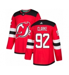 Men's New Jersey Devils #92 Graeme Clarke Authentic Red Home Hockey Jersey