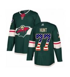 Men's Minnesota Wild #77 Brad Hunt Authentic Green USA Flag Fashion Hockey Jersey
