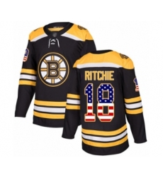 Youth Boston Bruins #18 Brett Ritchie Authentic Black USA Flag Fashion Hockey Jersey