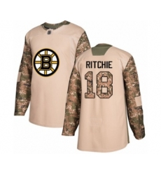 Youth Boston Bruins #18 Brett Ritchie Authentic Camo Veterans Day Practice Hockey Jersey