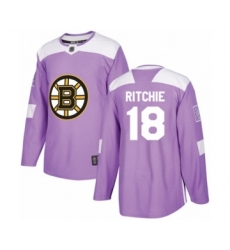 Youth Boston Bruins #18 Brett Ritchie Authentic Purple Fights Cancer Practice Hockey Jersey
