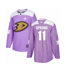 Youth Anaheim Ducks #11 Daniel Sprong Authentic Purple Fights Cancer Practice Hockey Jersey
