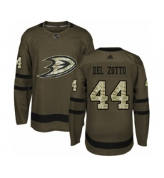 Men's Anaheim Ducks #44 Michael Del Zotto Authentic Green Salute to Service Hockey Jersey