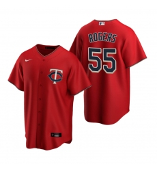 Men's Nike Minnesota Twins #55 Taylor Rogers Red Alternate Stitched Baseball Jersey