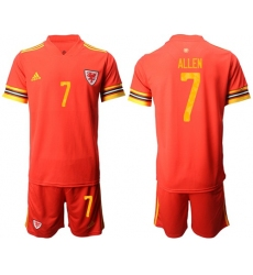Wales #7 Allen Red Home Soccer Club Jersey