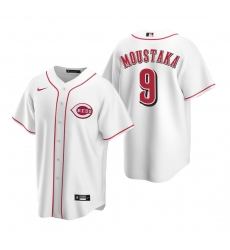 Men's Nike Cincinnati Reds #9 Mike Moustakas White Home Stitched Baseball Jersey