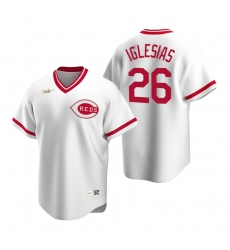 Men's Nike Cincinnati Reds #26 Raisel Iglesias White Cooperstown Collection Home Stitched Baseball Jersey