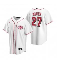 Men's Nike Cincinnati Reds #27 Trevor Bauer White Home Stitched Baseball Jersey