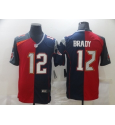 Men's Tampa Bay Buccaneers #12 Tom Brady Blue Red Limited Split Fashion Football Jersey